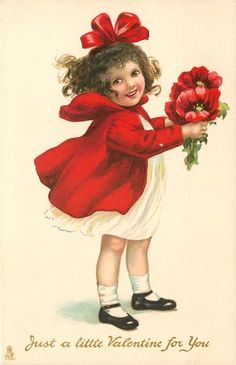 JUST A LITTLE VALENTINE FOR YOU girl in red coat with large red poppies - TuckDB