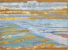 Piet Mondrian, View from the Dunes with Beach and Piers, Domburg, MoMA - Piet Mondriaan - Wikipedia Piet Mondrian, Mondrian Kunst, Abstract Expressionism, Abstract Art, Theo Van Doesburg, Cardboard Painting, Guache, Dutch Painters, Post Impressionism