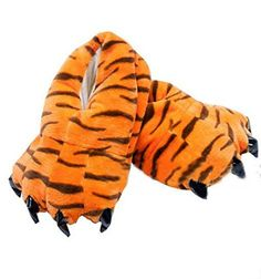 Soft Coral Fleece Animal Dinosaur Claw Slippers Tiger Slippers (women (4-8))