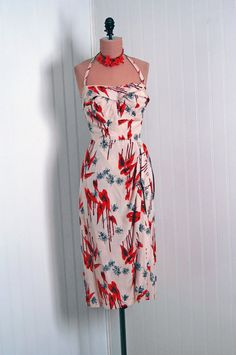1950's Vintage Hawaiian RubyRed Tropical by TimelessVixenVintage, $300.00