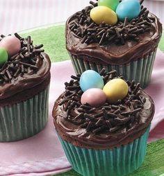 Easter Bird's Nest Cupcakes – kids baking ideas Holiday Desserts, Holiday Baking, Holiday Treats, Holiday Recipes, Easter Desserts, Deco Cupcake, Cupcake Cakes, Cupcake Recipes, Dessert Recipes