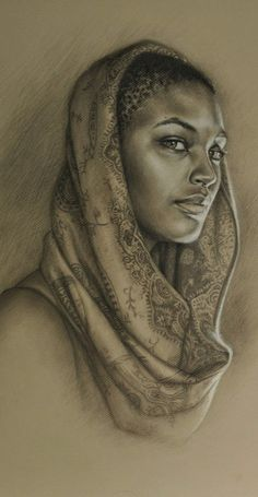 """""""Sea"""" - Sara Golish, charcoal and conté on toned paper {contemporary figurative realism artist beautiful female head art african-american black woman face portrait cropped painting} African American Art, African Art, Natural Hair Art, Natural Beauty, Photographie Portrait Inspiration, Black Artwork, Afro Art, Black Women Art, Portrait Art"""