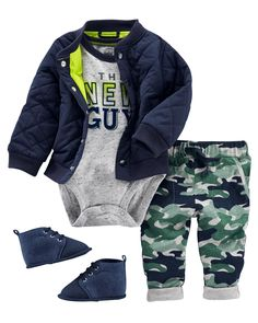 Nothing says cool-kid style quite like this outfit! Featuring a comfy poplin bomber jacket and on-trend camo joggers, this get-up is made even better with the addition of a fun graphic tee.