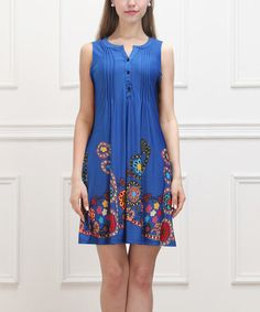 Another great find on #zulily! Blue Garden Sleeveless Button-Front Dress by Reborn Collection #zulilyfinds