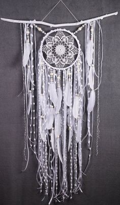 White Dreamcatcher Boho Dream Catcher Large white crochet dreamcatcher gift wedding ceremony photo backdrop Dreamcatcher Bohemian handmade This amulet like Dreamcatcher - is not just a decoration of the interior. It is a powerful amulet, which is endowed Dream Catcher White, Large Dream Catcher, Dream Catcher Boho, Dream Catcher Wedding, Dream Catcher Decor, Crochet Dreamcatcher, White Dreamcatcher, Los Dreamcatchers, Selling Crochet