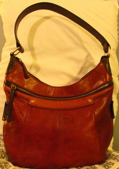 69b819889d Tignanello hobo Handbag Medium Size Saddle brown Dark Brown Leather   Tignanello  Hobo