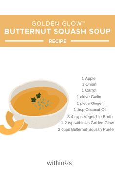 This easy-to-make soup is full of antioxidants and anti-inflammatory nutrients and is easy to whip up a batch when you feel your body needs a boost! Fresh Garlic, Fresh Ginger, Squash Puree, Toasted Pumpkin Seeds, Roasted Butternut Squash, Vegetable Stock, Chilis, Gut Health, Soups