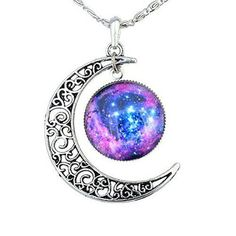 Crescent Moon Necklace, moon Galaxy, Glass Cabochon Pendant, Moon Choker,Crescent Moon Jewelry Unisex,Necklace Moon Jewelry, Men Women Girls by beautifulcreated on Etsy