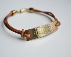 Gold Hidden Message Bracelet Leather Mantra by ThoughtBlossoms