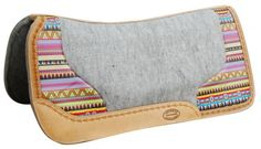 """Showman ® 32"""" x 31"""" Argentina cow leather saddle pad with Aztec print. 