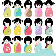 ClIP ART - Kawaii Kokeshi Doll Set of 15  for commercial and personal use. Invites, cards, scrapbooking