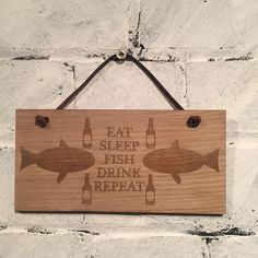 "Fishing plaque ""Eat sleep fish drink repeat"" Shabby chic wooden plaque/sign gift for fisherman family friends colleagues fans of the sport by EngraviaDigital on Etsy"