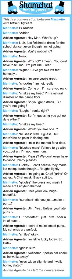 A conversation between Adrien Agreste and Marinette