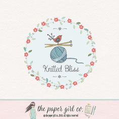 knitting logo design craft shop logo boutique by ThePaperGirlCo