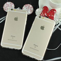 3D Diamond Minnie Mickey Mouse Case For iPhone 6 6S 6 Plus 6S Plus Rhinestone ears Soft Transparent TPU phone Covers Cases Bags