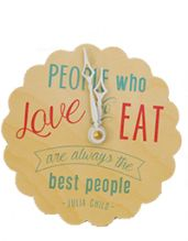 """Super cute kitchen clock from @ideachicretail! Inspired by Julia Child's Quote """"People Who love to eat are always the best people!"""""""