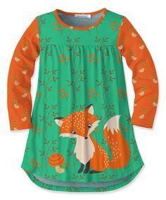 Look at this #zulilyfind! Green & Orange Fox Tunic - Toddler & Girls #zulilyfinds