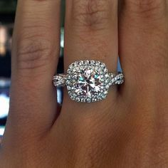 20 Double Halo Engagement Ring Ideas for You Lately double row halo design engagement rings are also becoming more popular, they are unique and beautiful. If you have a small diamond/budget, considering a Square Halo Engagement Rings, Wedding Engagement, Wedding Bands, Halo Rings, Solitaire Rings, Halo Wedding Rings, Solitaire Engagement, Bridal Rings, Square Wedding Rings