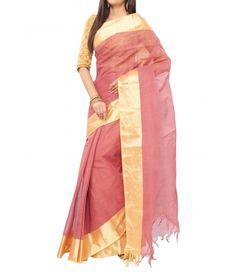 Salmon color Traditional Bengal Tant Cotton Saree-Golden Zari Border