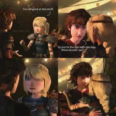 I love everything about this. Astrid's smile, Hiccup's reference to his missing leg, the fact that she obviously agrees to dance with him. It's great. Adorable Hiccstrid. :)