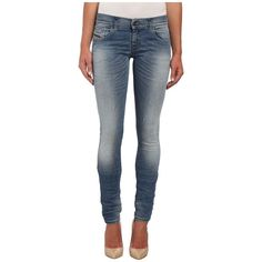 Diesel Grupee Skinny 839Y Women's Jeans ($208) ❤ liked on Polyvore featuring jeans, embroidered skinny jeans, skinny fit jeans, patched skinny jeans, super skinny jeans and zipper jeans