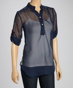 Another great find on #zulily! Black Sheer Roll-Tab Tunic - Women by Mango USA #zulilyfinds