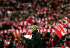 Jose Mourinho manager of Manchester United looks on during the EFL Cup Final match between Manchester United and Southampton at Wembley Stadium on...