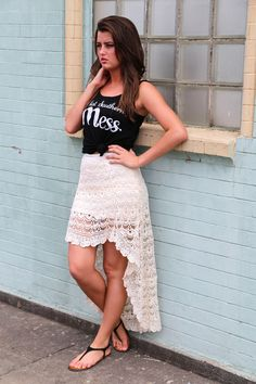 This is adorable! Cream Lace High-Low Skirt