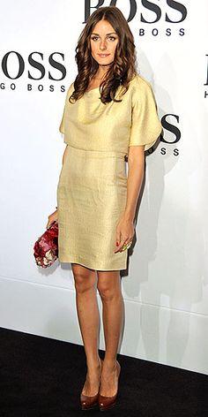 Olivia Palermo in a metallic sheath dress