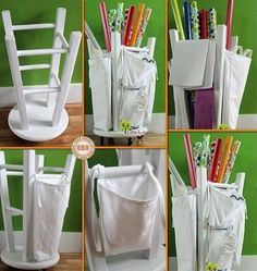 Looking for a simple DIY project for the weekend? With an old kitchen stool, casters, bags made from fabric and paint, you can make yourself a wrapping paper organizer! on The Owner-Builder Network  http://theownerbuildernetwork.co/wp-content/blogs.dir/1/files/storage-ideas-1/aaaaaasssss-2.jpg