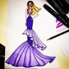 #fashionillustration #sketch #sketching #fashion design #GraceReshdan #touchtwinmarker #lilac #purple #blond
