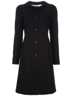 Black wool blend coat from Burberry London featuring a round neck with  black bead embellishments 12d270c0a59f