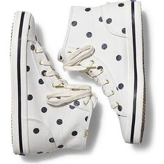 Keds x kate spade new york Double Up Hi Glitter Dot (£62) ❤ liked on Polyvore featuring shoes, sneakers, ball shoes, keds high tops, high top trainers, polka dot shoes e keds footwear
