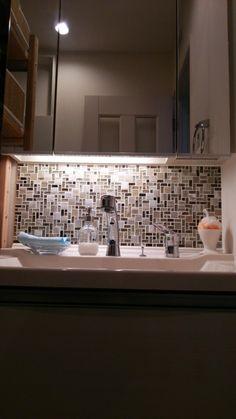 洗面台のモザイクタイル | はやくおうちに帰りたい!(三菱地所ホームでつくるおうち)