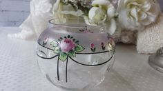 New to NostalgiqueBoutique on Etsy: Elegant Vintage French Art Nouveaux Painted Floral Swags Glass Bowl (29.99 GBP)