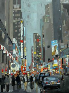 NYC Corner, painting by Leslie Graff Illustrations, Illustration Art, Cityscape Art, City Scene, Wow Art, City Art, Urban Landscape, Painting Inspiration, Painting & Drawing