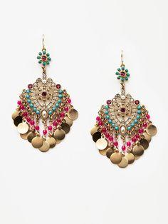 Multicolored Stone Chandelier Earrings