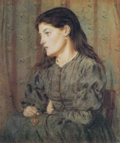 """Pensosa d'altrui"" - George Price Boyce, c1869. In the 1860s, under the influence of Dante Gabriel Rossetti, Boyce produced a small number of figure paintings of this pensive type."
