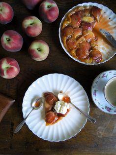 peach and rosemary tarte tatin