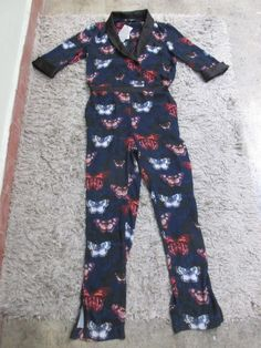 c33f8e2a235 Ladies New With Tags Wallis Blue Black 3 4 Butterfly Pattern Jumpsuit Sz 12