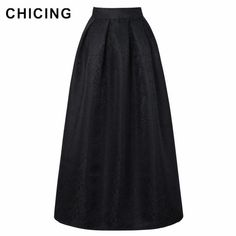 70d307c94c53 CHICING New Vintage Long Maxi Skirts Fashion 2018 Spring Retro Pleated  Floor-length Ball Gown