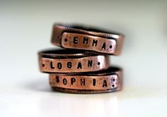 Personalized Custom Name Band Ring Copper by monkeysalwayslook