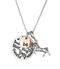Inspirational Necklace Jewelry Gifts for Girls with Unicorn Charm Pendant (Be Happy Kind Brave) Cat Stroller, Jewelry Gifts, Jewelry Necklaces, Unicorn Necklace, Two Tones, Gifts For Girls, Girls Shoes, Fashion Jewelry, Charmed