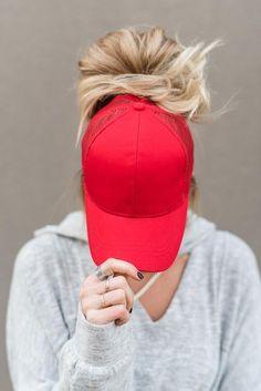 ef1268f9bfa Messy Bun Baseball Hat - Red Mesh All The Colors