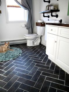 Update Bathroom with DIY Herringbone Floor Using Peel n' Stick Luxury Vinyl Tile Bathroom Tile Designs, Bathroom Floor Tiles, Bathroom Ideas, Bathroom Updates, Stick On Tiles Bathroom, Bathroom Vanities, Bathroom Black, Modern Bathroom, Shark Bathroom