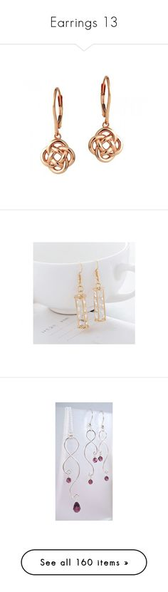 """""""Earrings 13"""" by thesassystewart on Polyvore featuring jewelry, earrings, love knot earrings, rose gold jewellery, 18 karat gold earrings, 18k earrings, pink gold earrings, crystal jewellery, 18k gold plated jewelry and 18k jewelry"""