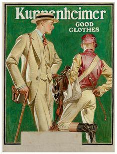 Joseph Christian Leyendecker 1874 - 1951 KUPPENHEIMER GOOD CLOTHES (MAN AND JOCKEY)