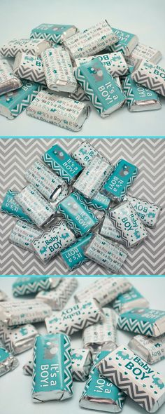Baby Boy on the Way?  Celebrate with Teal and Gray Stickers for Hershey Mini Chocolate Bar.  Sweet treat and perfect favor.  #elephantbabyshower