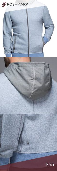Men lululemon Le hoodie size L. Item #20155220 Heathered full zip size L blue & gray. Never worn! Naturally breathable cotton fabric feels thick, soft, and cozy. Great for Heat retention! lululemon athletica Jackets & Coats Performance Jackets