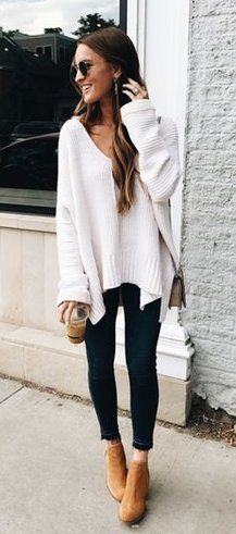 winter  outfits white scoop-neck sweater with black fitted jeans outfit d1080bec0331